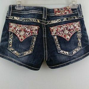 Miss Me size 26 embellished stretch shorts.